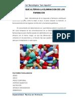 Factores Que Alteran La Eliminacion de Los Farmacos