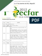PROGRAMAÇÃO __ I SECFAR - 29 de Agosto a 1º de Setembro de 2012, Alegre_ES