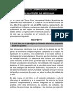 Manifiesto de Organizaciones del III Foro Andino Amazónico 2015