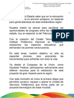 19 03 2011 Firma del convenio para la creación del Clúster Tecnológico del Instituto Politécnico Nacional en Papantla