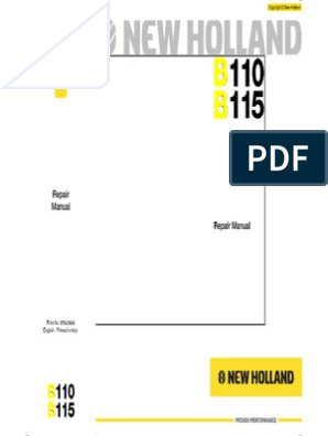 NEW+HOLLAND_B110-B115_EN_SERVICE+MANUAL | Loader (Equipment