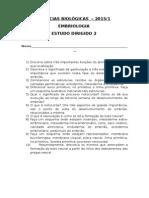 Estudo Dirigido 2 EMBRIOLOGIA 2015