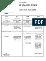 FCC La Joux - Convocation Jeunes 20-03-2010