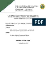 Proyecto de EL PRESUPUESTO PUBLICO Y SU INCIDENCIA EN EL DESARROLLO LOCAL DEL DISTRITO DE PADRE ABAD, UCAYALI, 2015Tesis Ejemplo