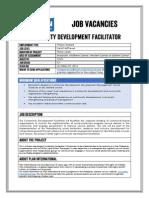 Job Advertisement - Community Development Facilitator