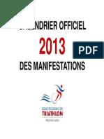 Calendrier Officiel Manifestations Triathlon 2013