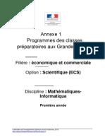 Programme Maths ECS 1ère Année