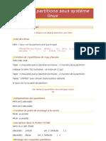 Création partitions sous systéme linux