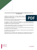 Communication HAE relative au référendum des 16, 17 et 18 octobre 2015