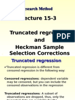 Lecture 15-3 Cross Section and Panel (Truncated Regression, Heckman Sample Selection)