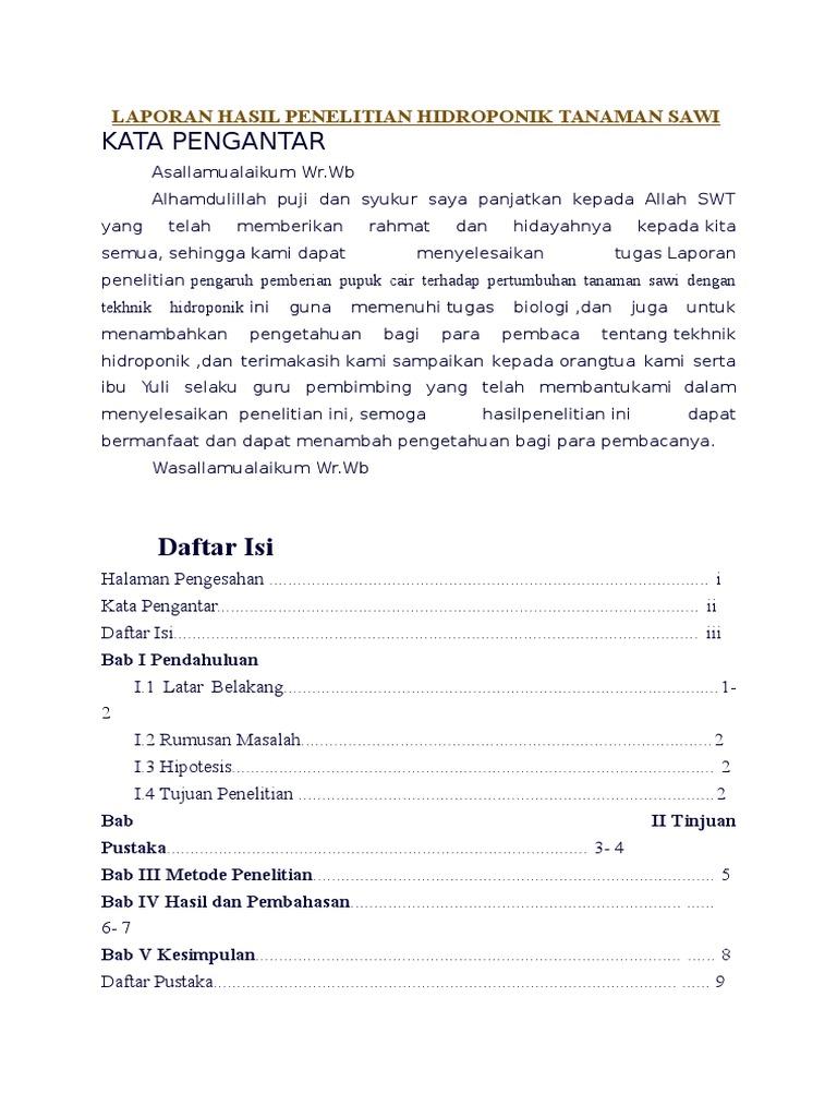 Laporan Hasil Penelitian Hidroponik Tanaman Sawi Docx
