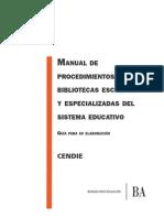 Manual de procedimiento para Bibliotecas Escolares y Especializadas