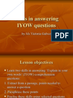 Skills in Answering IYOW Questions