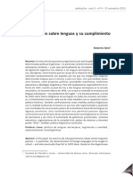 Bein La Legislación Sobre Lenguas y Su Cumplimiento
