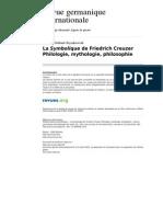 Rgi 1278 14 La Symbolique de Friedrich Creuzer Philologie Mythologie Philosophie