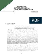 Introducción a La 1. Investigación en Educación