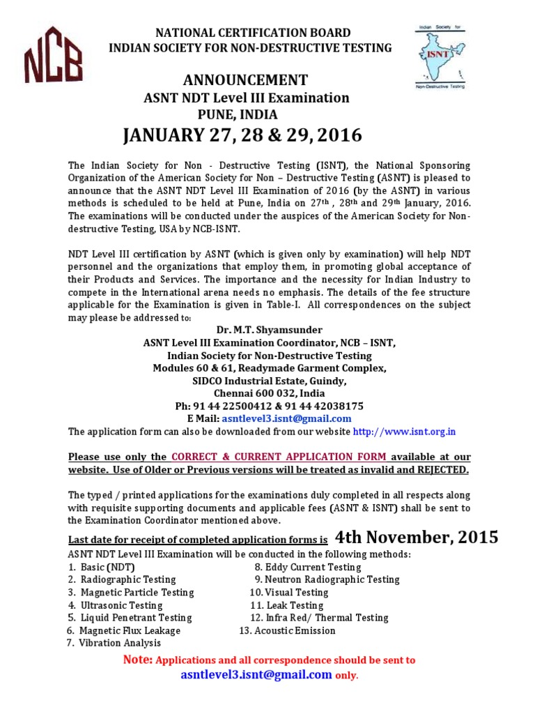 Asnt Level Iii Announcement Jan2016 Nondestructive Testing Wire