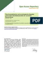 Artikel, Psychoanalytische Und Soziologische Aspekte Personalen Identitätswandels Im Vereinten Deutschland