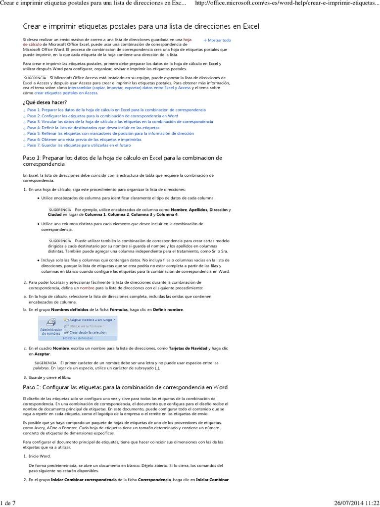 Crear e Imprimir Etiquetas Postales Para Una Lista de Direcciones en ...