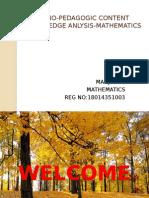 Thechno-pedagogic Content Knowledge Anlysis-mathematics