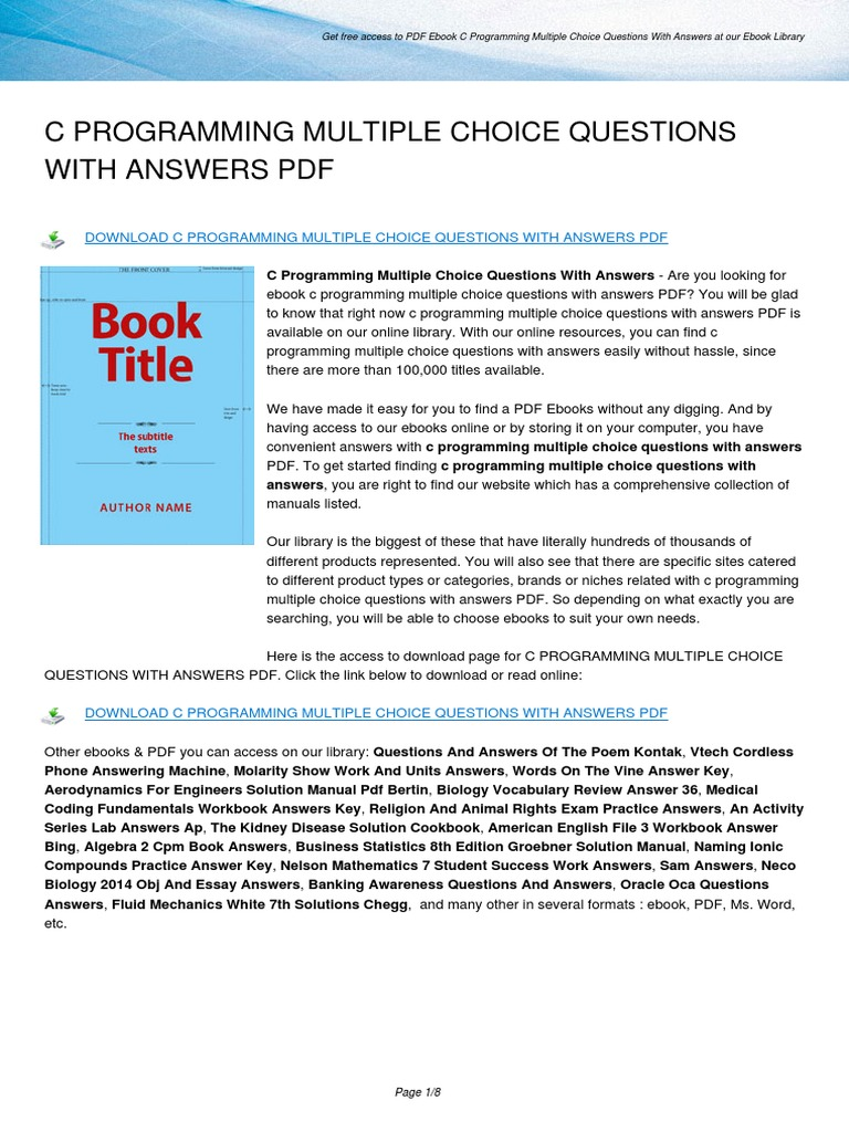c Programming Multiple Choice Questions With Answers | E Books | Test  (Assessment)