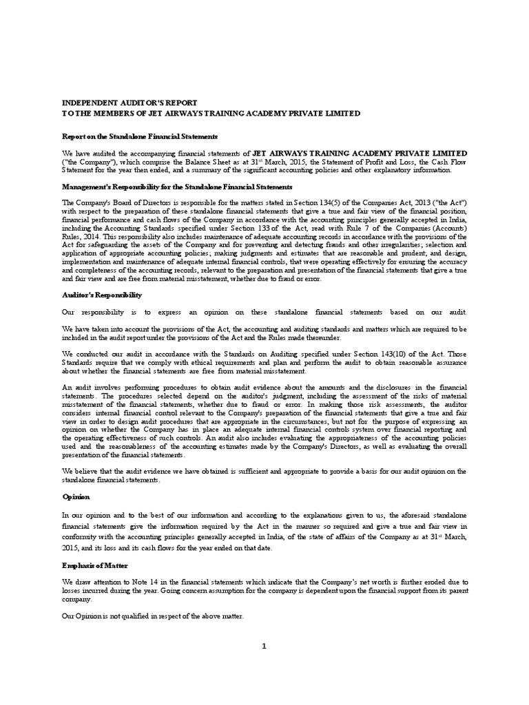Jet airways audit reportpdf auditors report audit altavistaventures Image collections