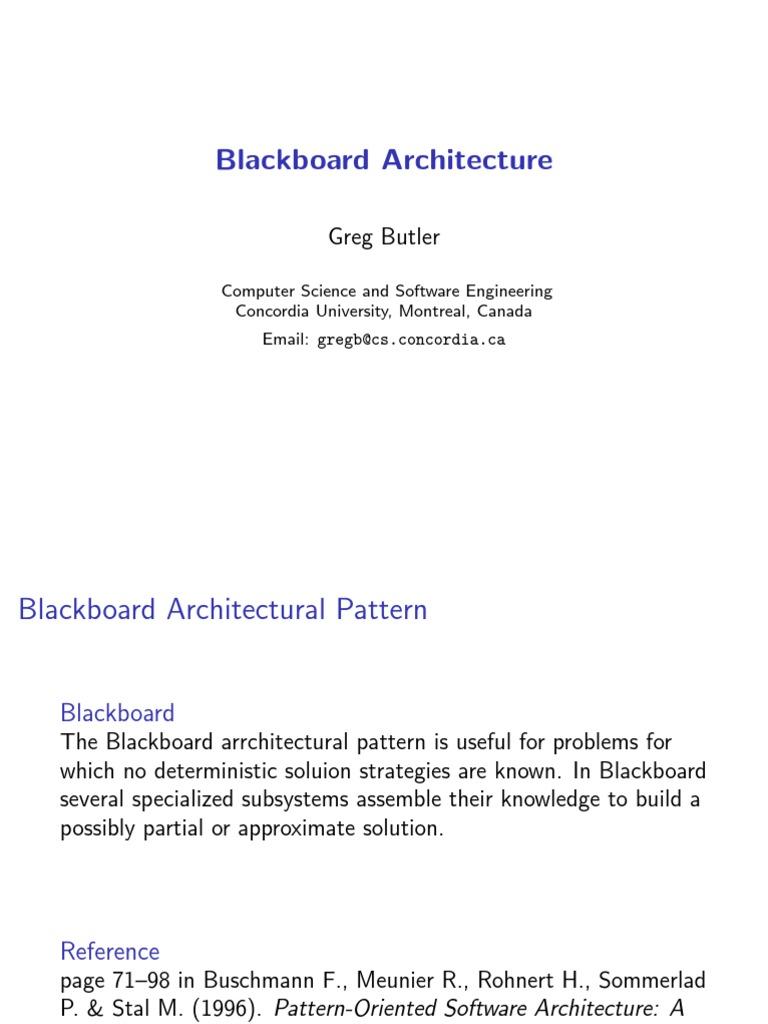 Soen6461 Blackboard Arch System Knowledge