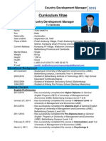 Country Development Manager Sample CV or Resume