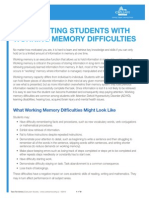 Supporting Students With Working Memory Difficulties
