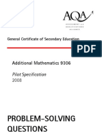 9306 Additional Mathematics Problem-Solving Questions