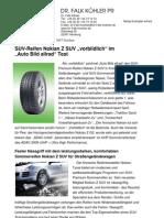 """SUV-Reifen Nokian Z SUV """"vorbildlich"""" im """"Auto Bild allrad"""" Test"""