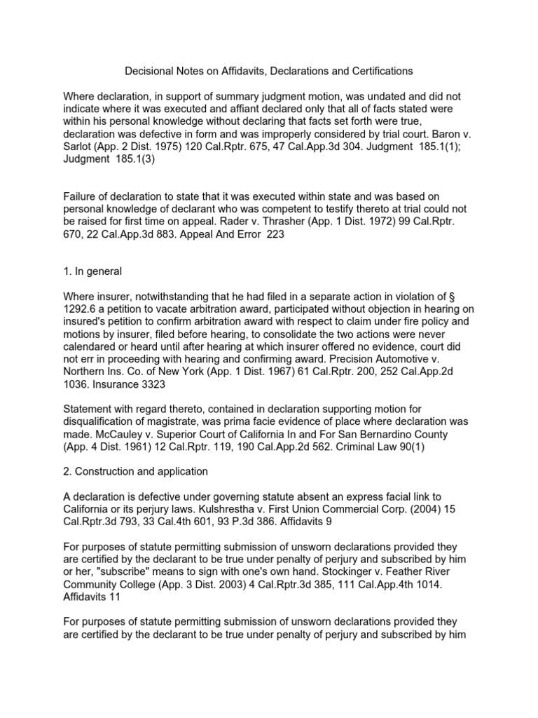 Decisional Notes on Affidavits, Certificates & Declarations