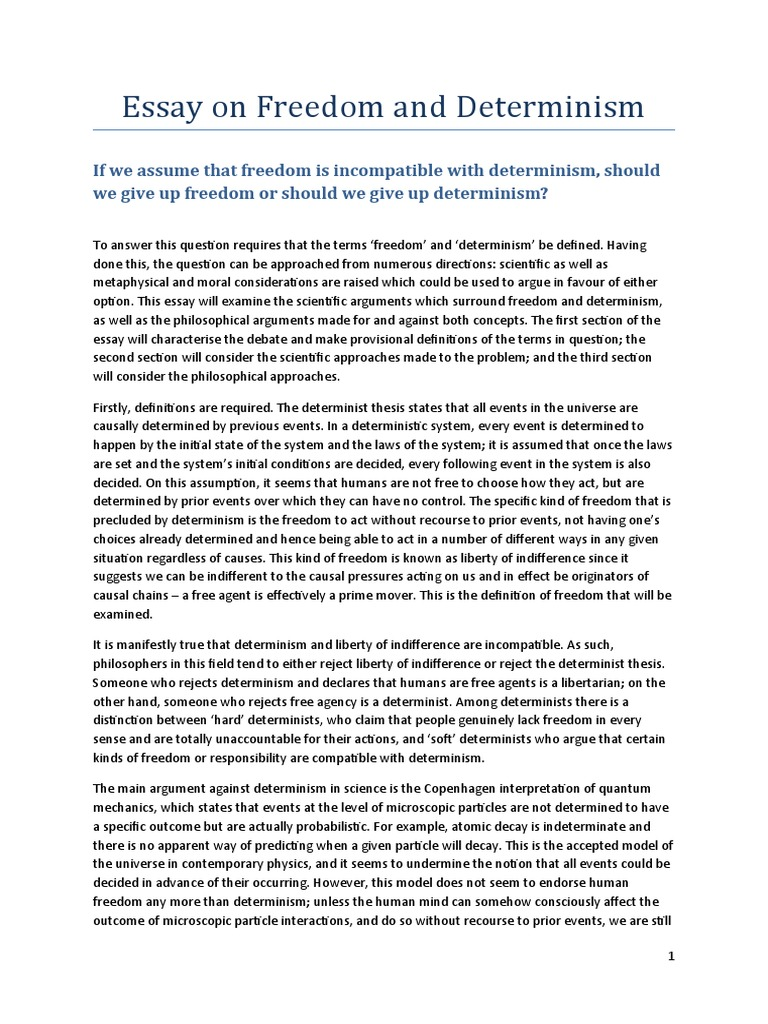 Essay on freedom and determinism free will determinism