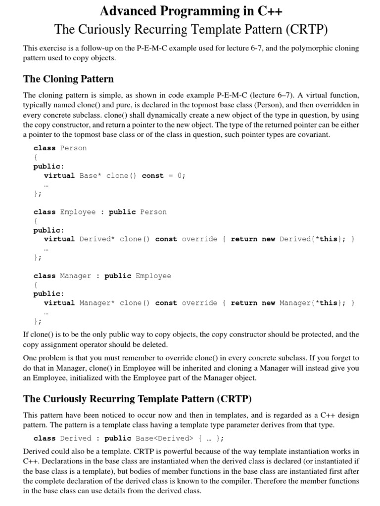 C the curiously recurring template pattern crtp inheritance c the curiously recurring template pattern crtp inheritance object oriented programming c maxwellsz
