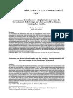 Fomentando Discussões Sobre a Implantação Do Processo de Gerenciamento de Estratégia Para Serviços de TI Na Câmara Municipal de Curitiba