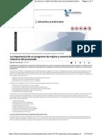 La Importancia de Un Programa de Mejora y Control de Lubricación en La Industria Del Procesado