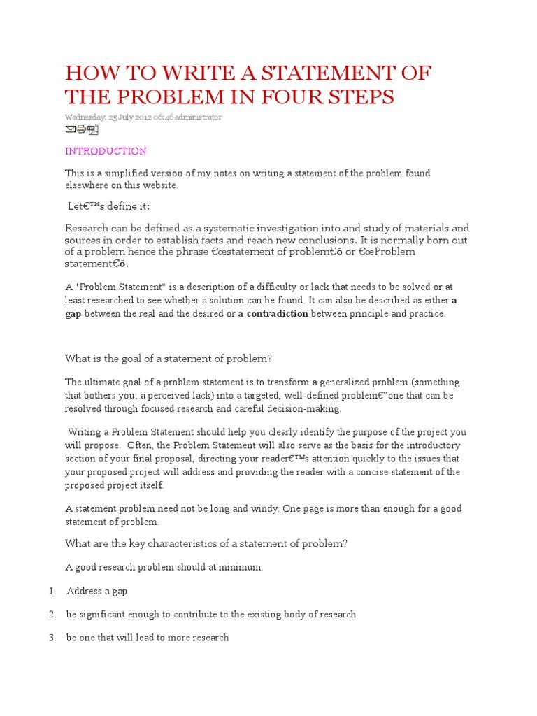 problem statement examples