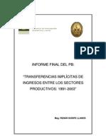 Transferencias implícitas de ingresos entre los sectores productivos