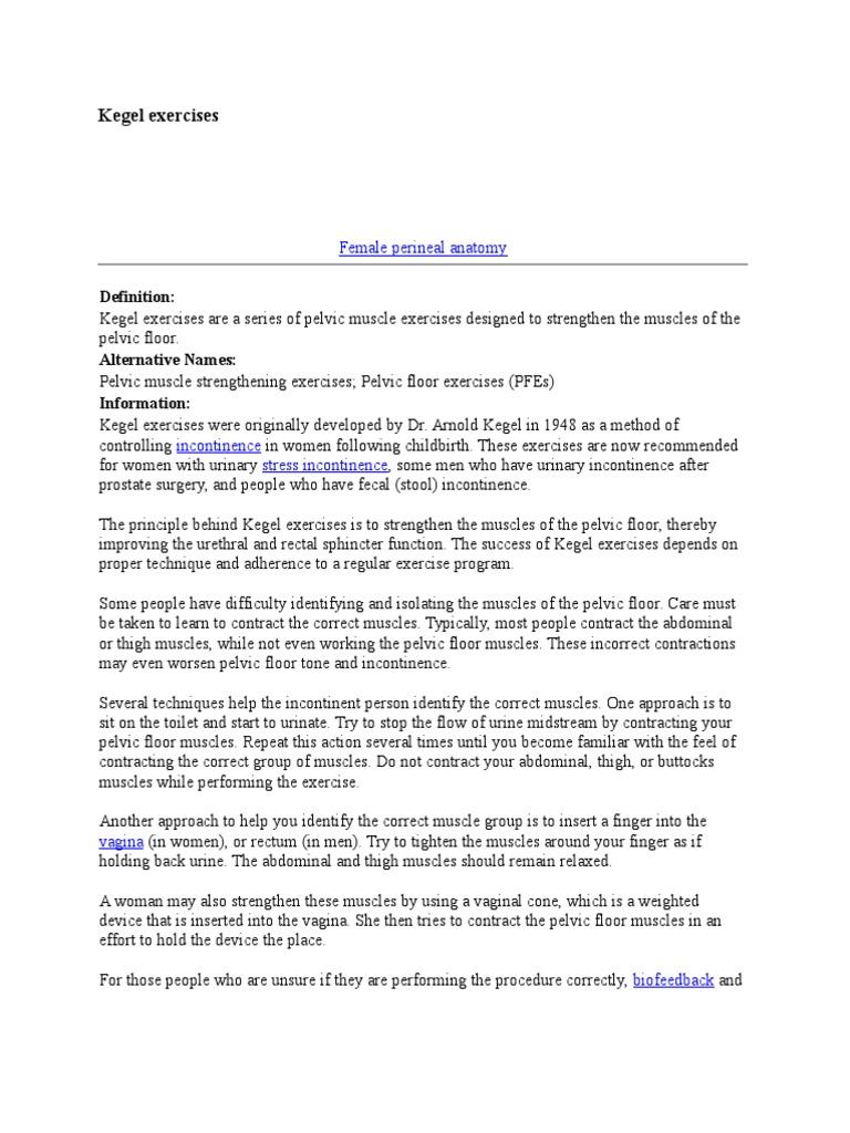 Kegel Exercises Urinary Incontinence Pelvis