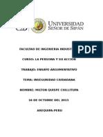 La inseguridad ciudadana  y los valores en el Peru