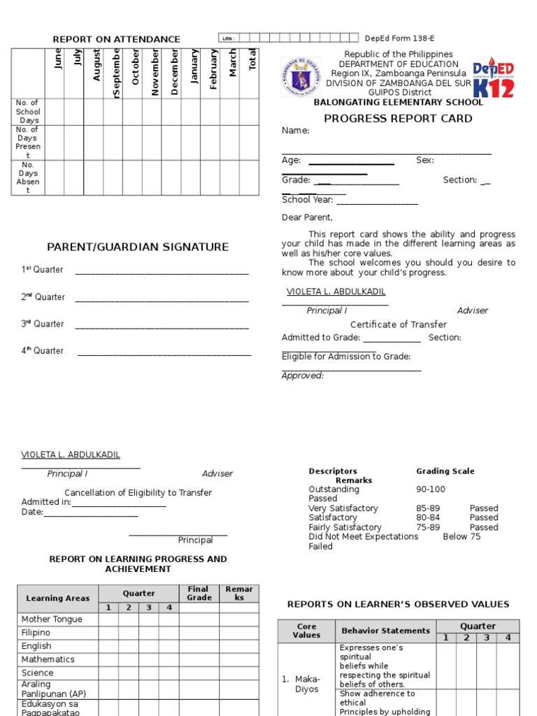 Form 138 E Grade 3