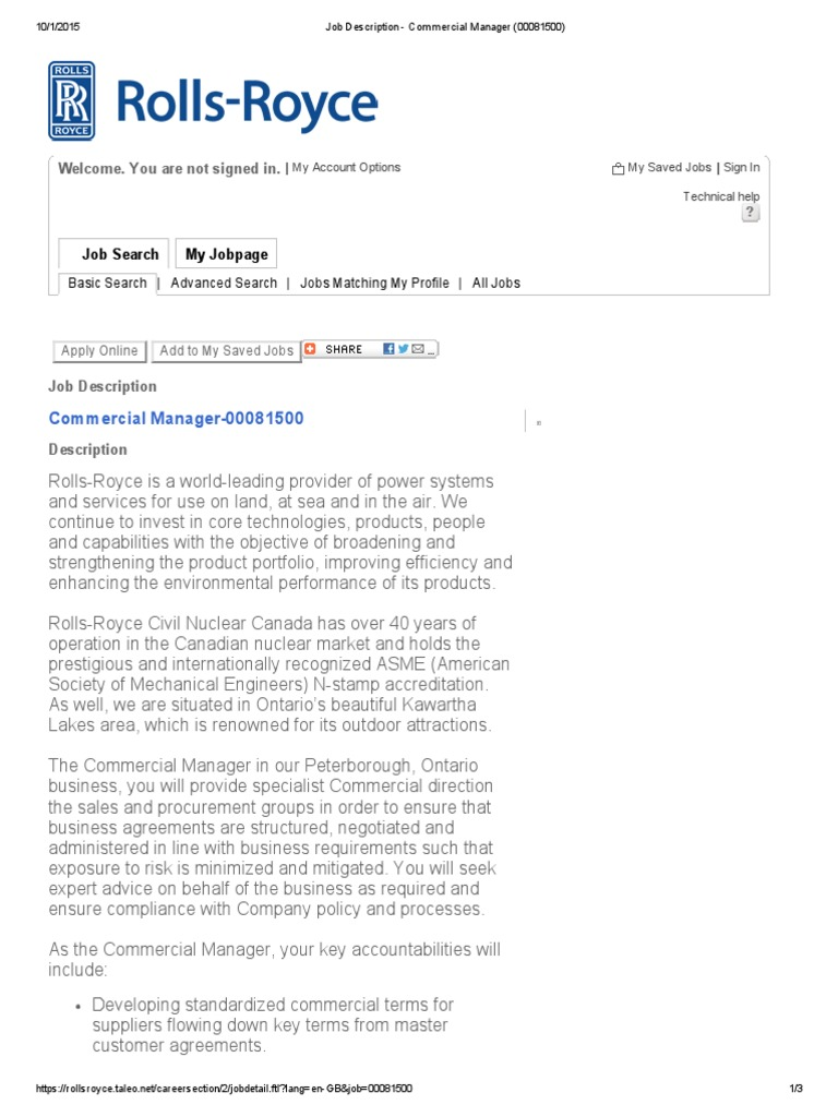 Charming Job Description   Commercial Manager (00081500) | Supply Chain | Negotiation