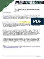 Se Deniega El Acceso a La Información de Negociaciones Secretas Chile TPP