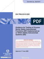ISA TR84.00.03 Guidance for Testing of Process Sector Safety Instrumented Functions