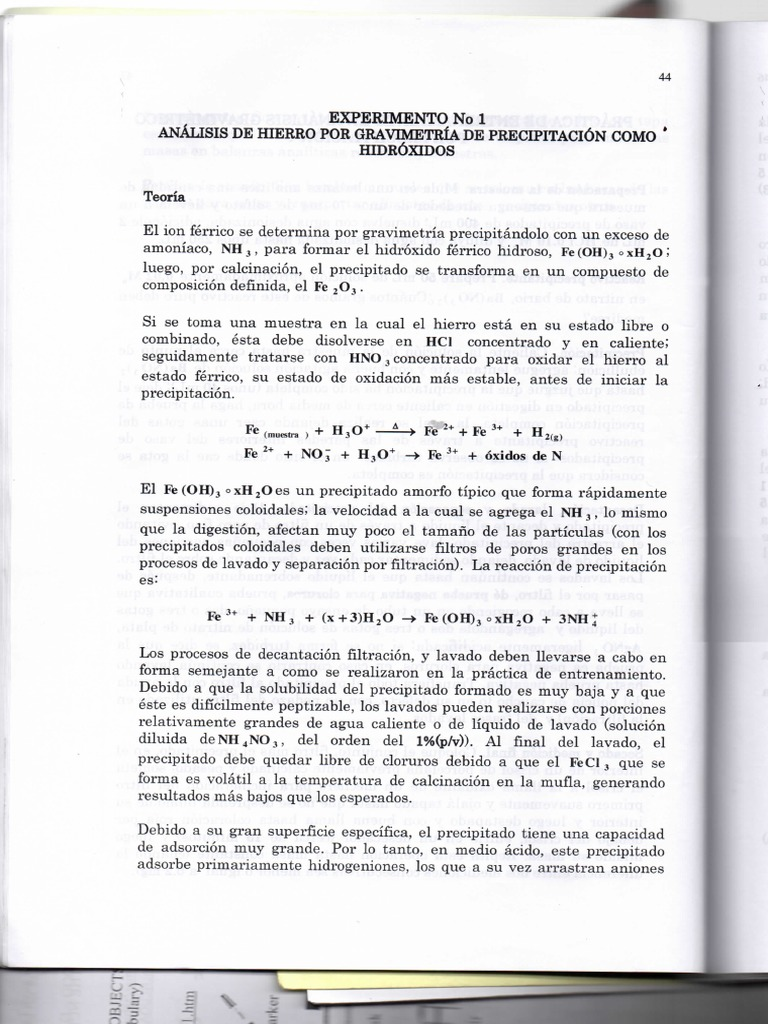 Analisis de hierro por gravimetria de precipitacin urtaz Gallery