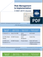 Risk Management Requirements Implementation in ISO 9001:2015 Clauses