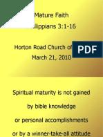Mature Faith / Philippians 3.1-16