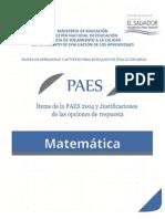 Ítems de La PAES 2014 y Justificaciones - MATEMATICA