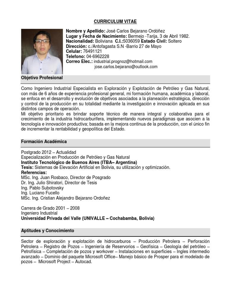 Famoso Plantilla De Curriculum De Ingeniero De Petróleo Y Gas ...
