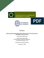 Criterios usados por los fondos de inversión socialmente responsables del sector privado